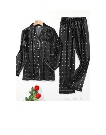 Pyjama satin noir à pois...