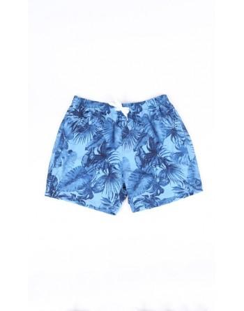 Short de bain bleu feuille