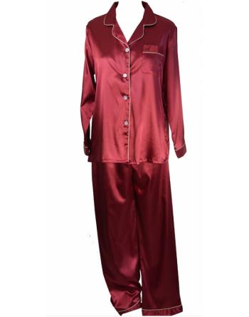 Pyjama en satin bordeaux