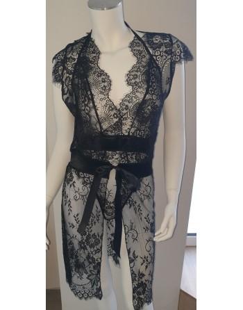 Body + kimono noir en dentelle