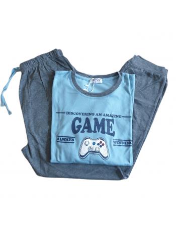 Pyjama homme game bleu clair
