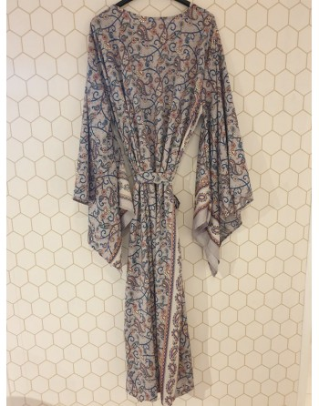 kimono gris en soie