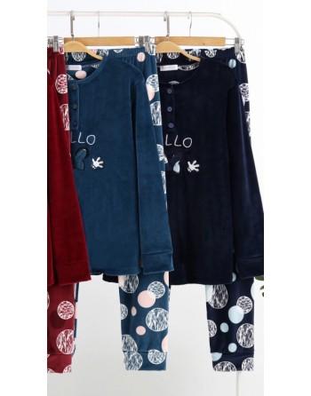 Pyjama en velours doux bleu...