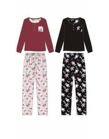 Pyjama doux nounours bordeaux